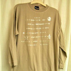 TAN JERSEY WITH FRENCH WRITING IN SILVER L